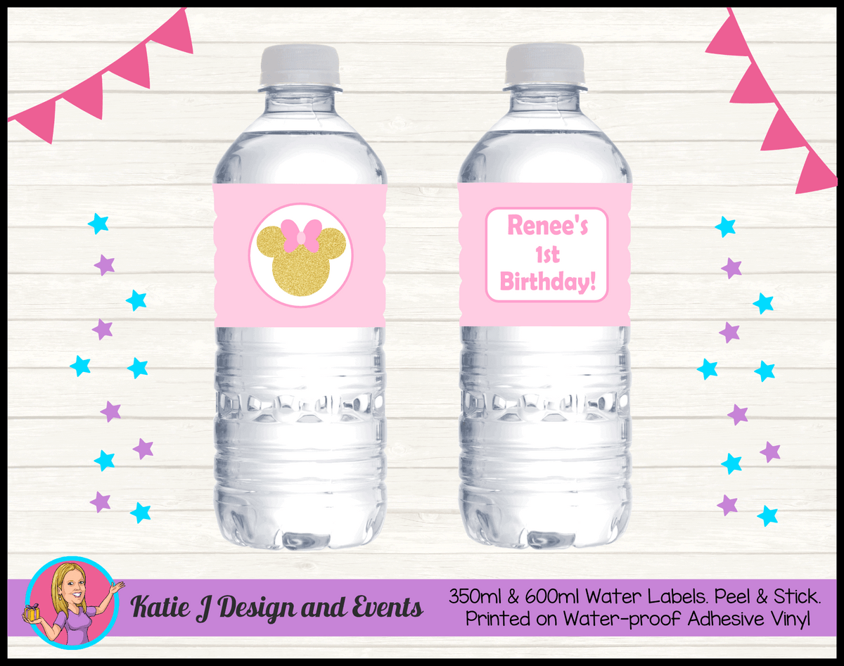 Personalised Pink Gold Minnie Mouse Party Water Labels