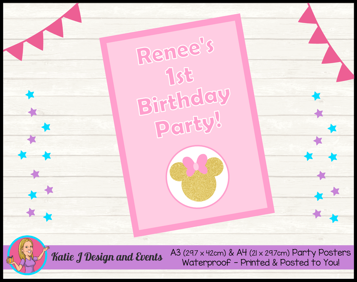 Personalised Pink Gold Minnie Mouse Birthday Party Poster