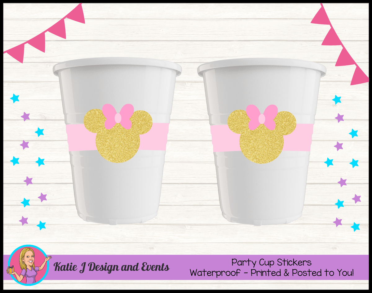 Personalised Pink Gold Minnie Mouse Party Cup Stickers Cups
