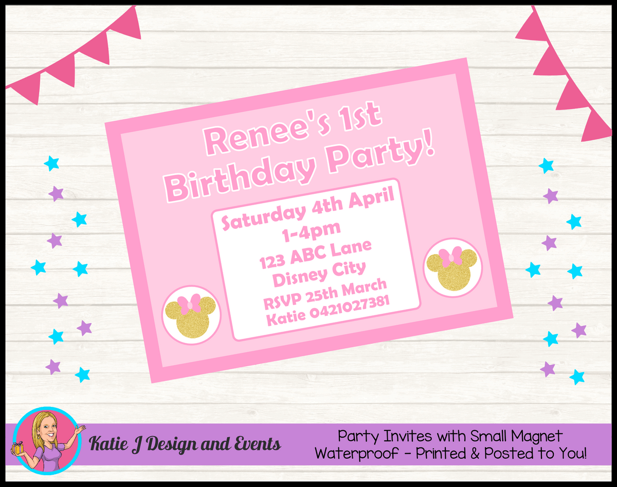 Personalised Pink Gold Minnie Mouse Birthday Party Invites Invitations