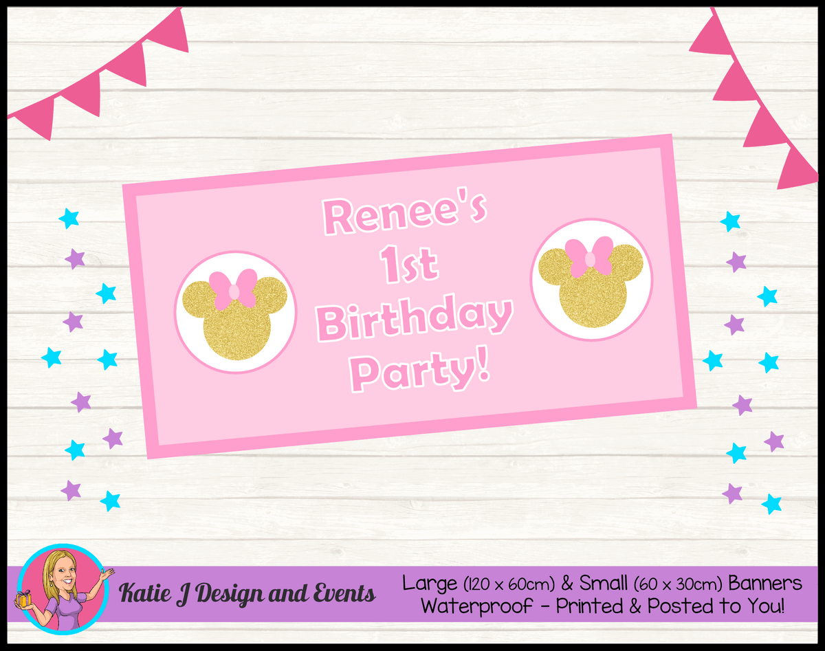 Personalised Pink Gold Minnie Mouse Birthday Party Banner