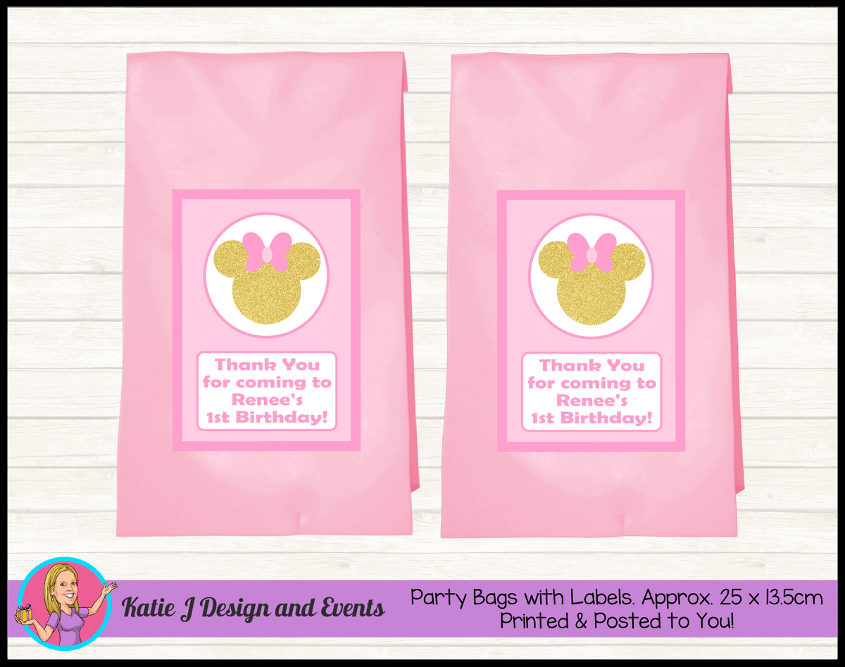 Personalised Pink Gold Minnie Mouse Birthday Party Loot Bags