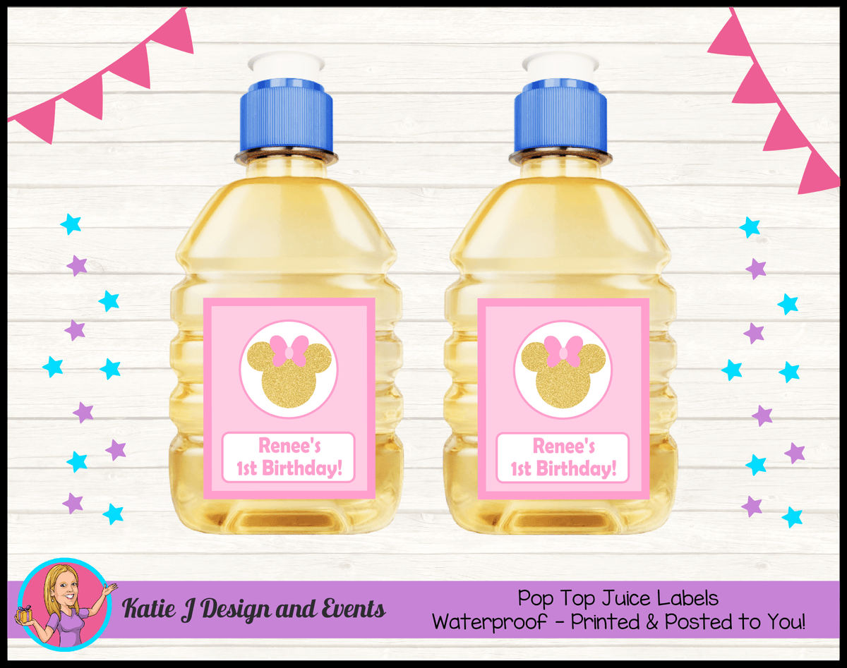 Personalised Pink Gold Minnie Mouse Pop Top Juice Labels