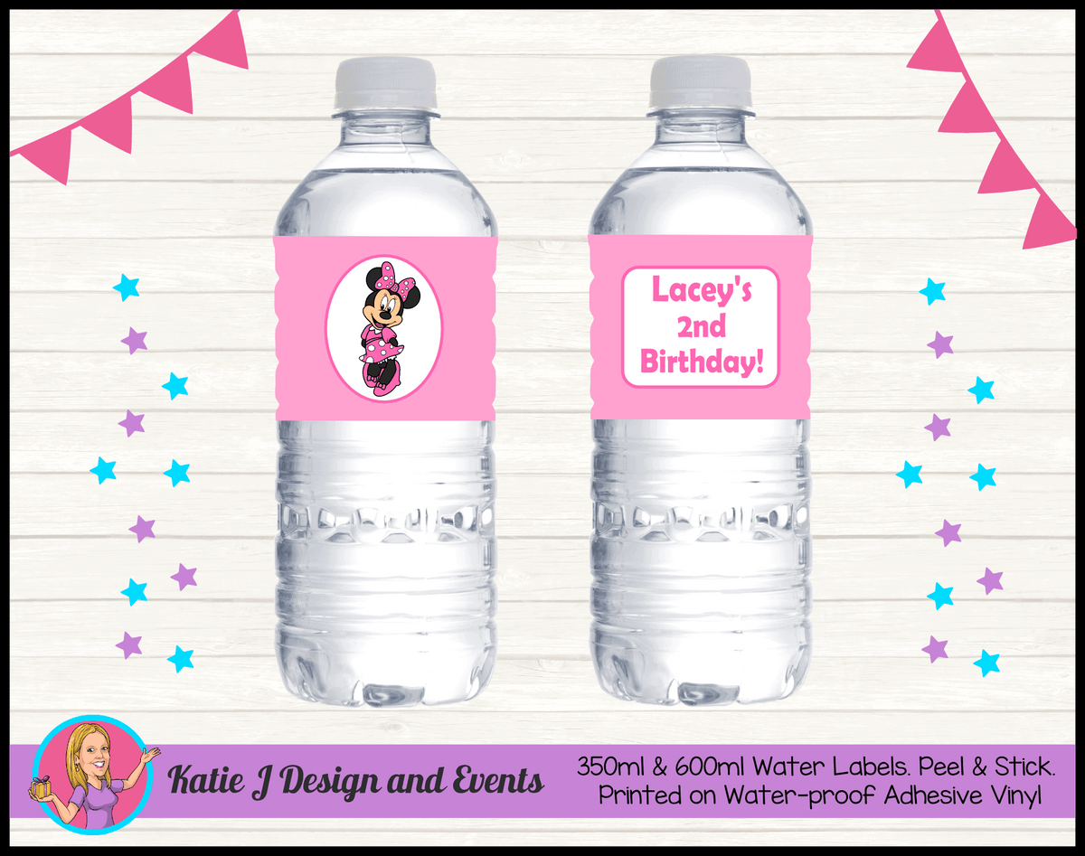 Personalised Pink Minnie Mouse Party Water Labels