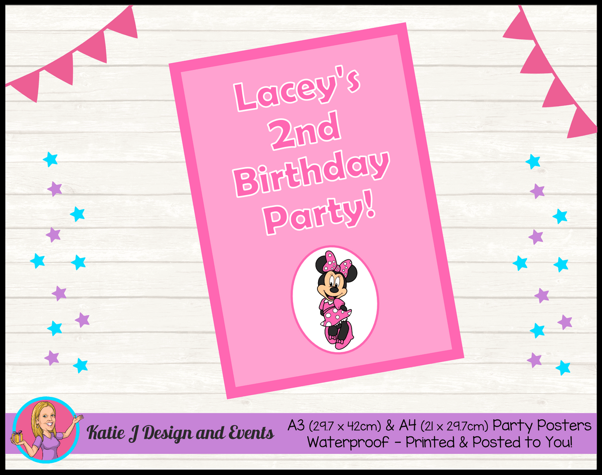 Personalised Pink Minnie Mouse Birthday Party Poster