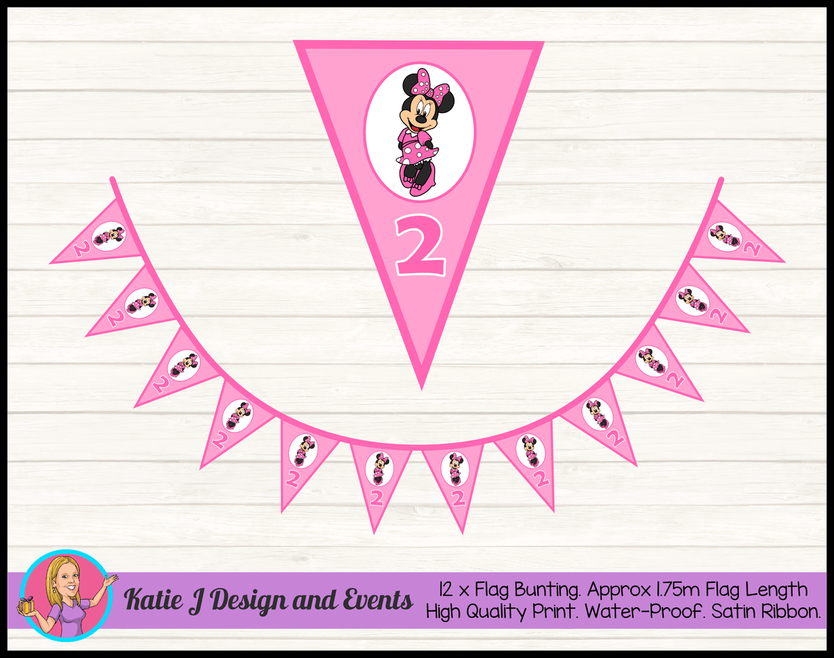 Personalised Pink Minnie Mouse Birthday Party Flag Bunting