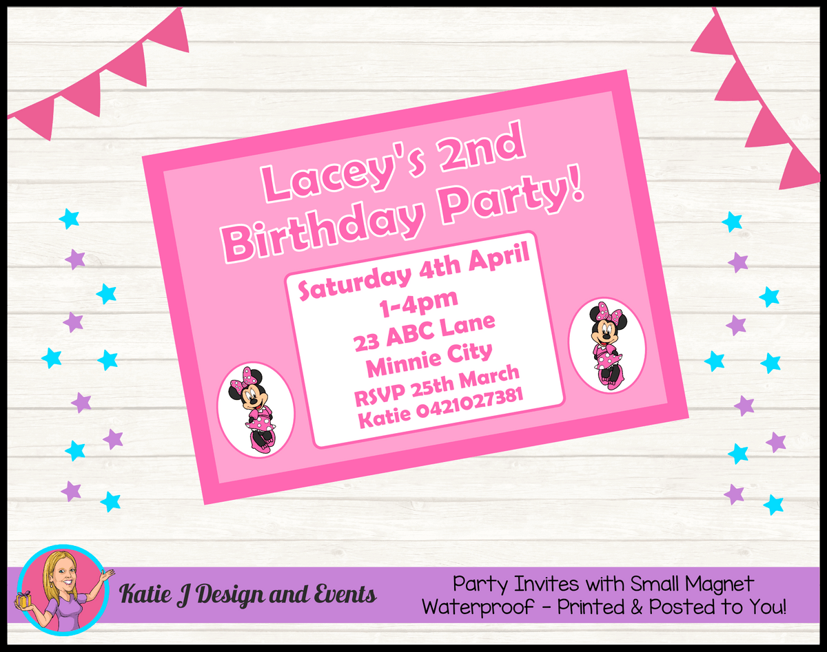 Personalised Pink Minnie Mouse Birthday Party Invites Invitations