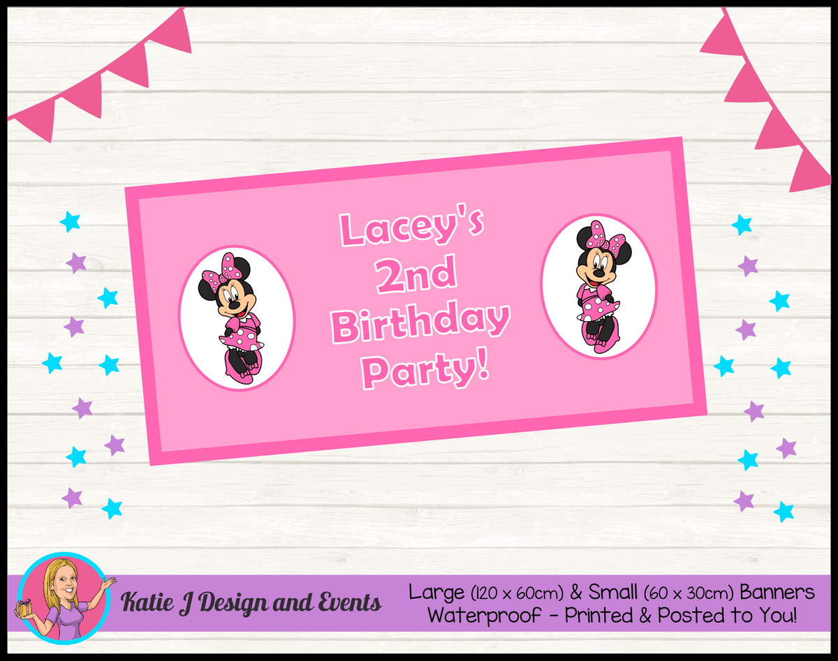 Personalised Pink Minnie Mouse Birthday Party Banner