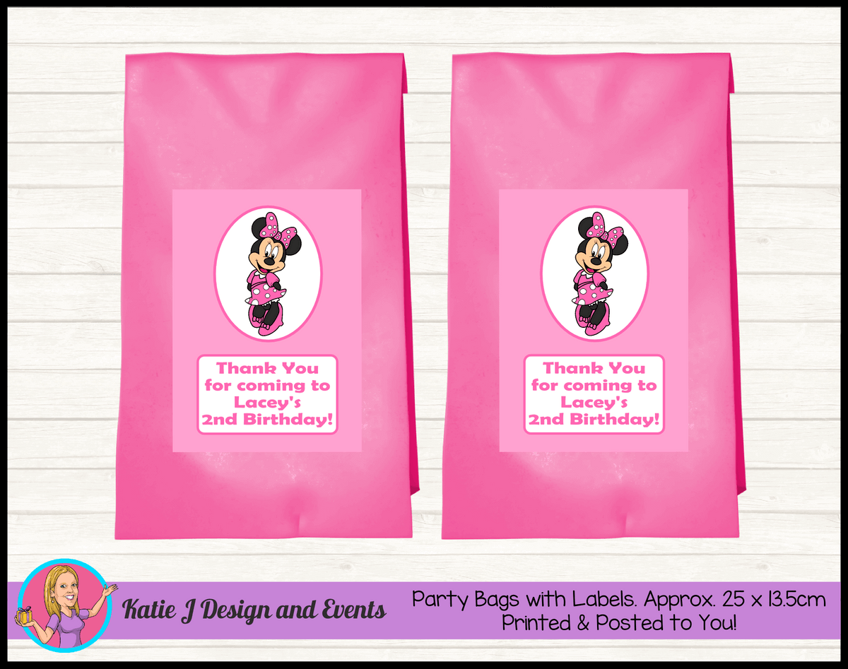 Personalised Pink Minnie Mouse Birthday Party Loot Bags