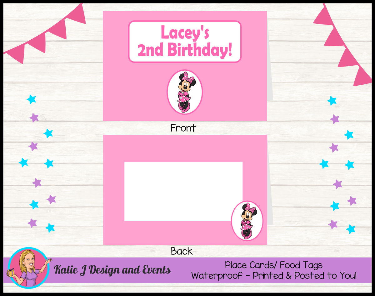 Personalised Pink Minnie Mouse Party Place Cards