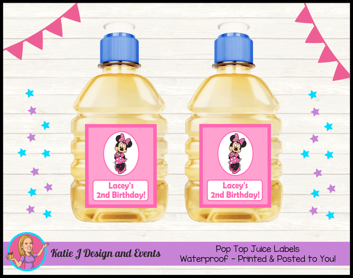 Personalised Pink Minnie Mouse Pop Top Juice Labels
