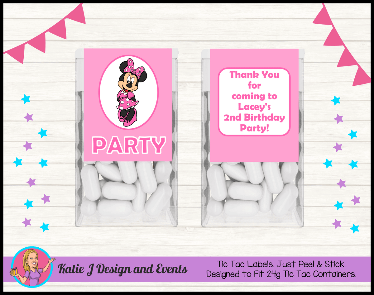 Personalised Pink Minnie Mouse Birthday Party Decorations