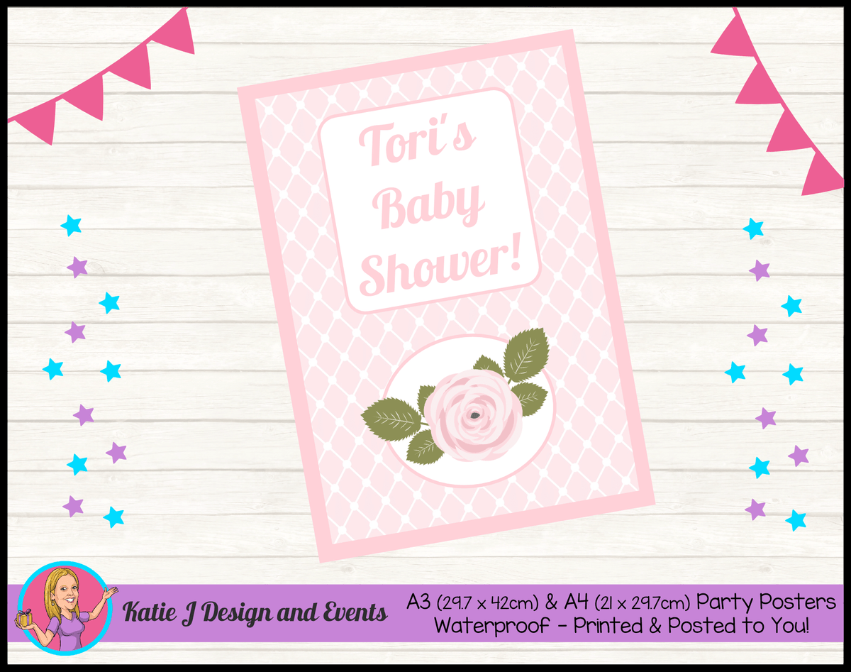 Personalised Pink Rose Floral Baby Shower Poster