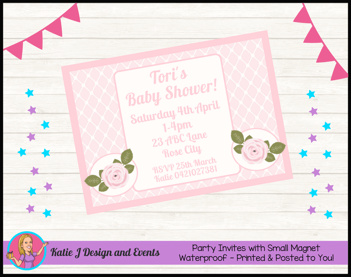 Personalised Pink Rose Floral Baby Shower Invites Invitations