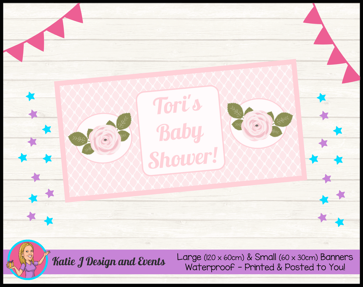 Personalised Pink Rose Floral Baby Shower Banner