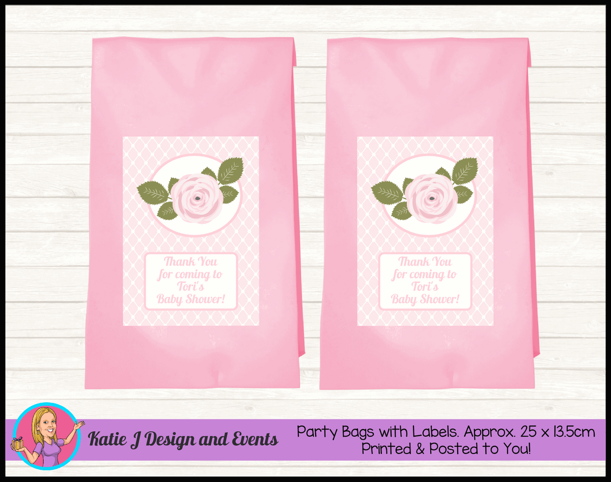 Personalised Pink Rose Floral Baby Shower Party Loot Bags