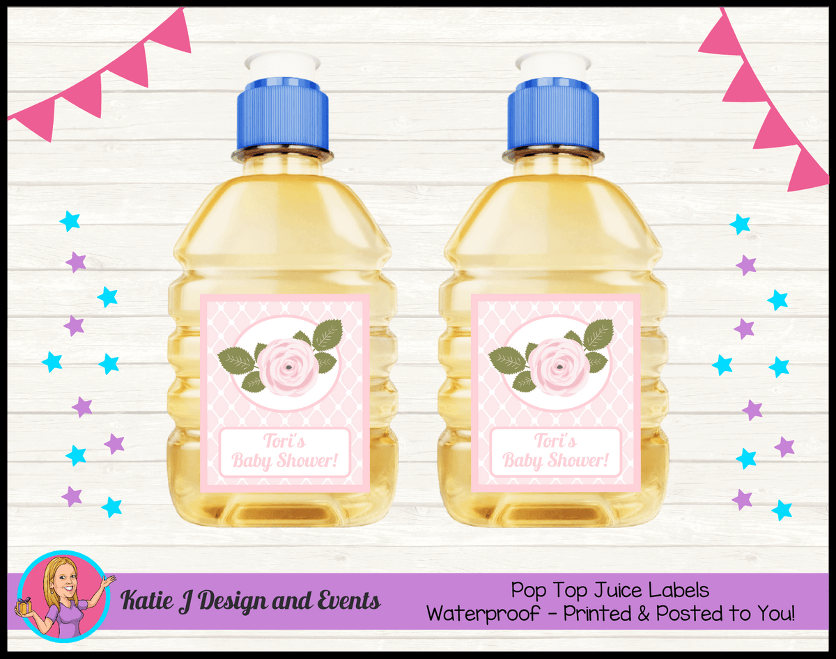 Personalised Pink Rose Floral Baby Shower Pop Top Juice Labels