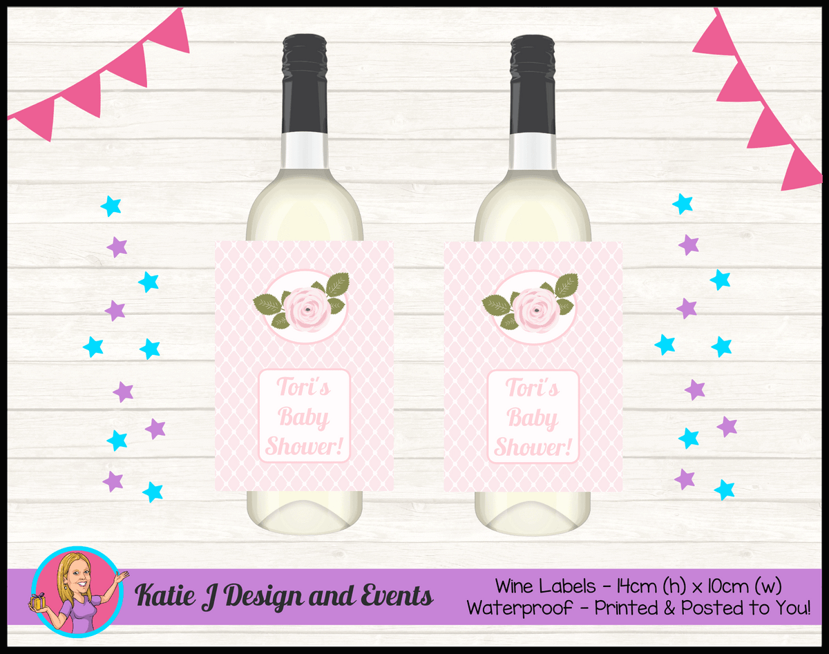 Personalised Pink Rose Floral Baby Shower Wine Labels