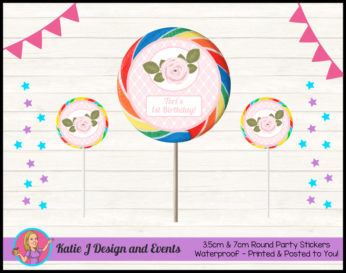 Personalised Pink Floral Round Lollipop Stickers
