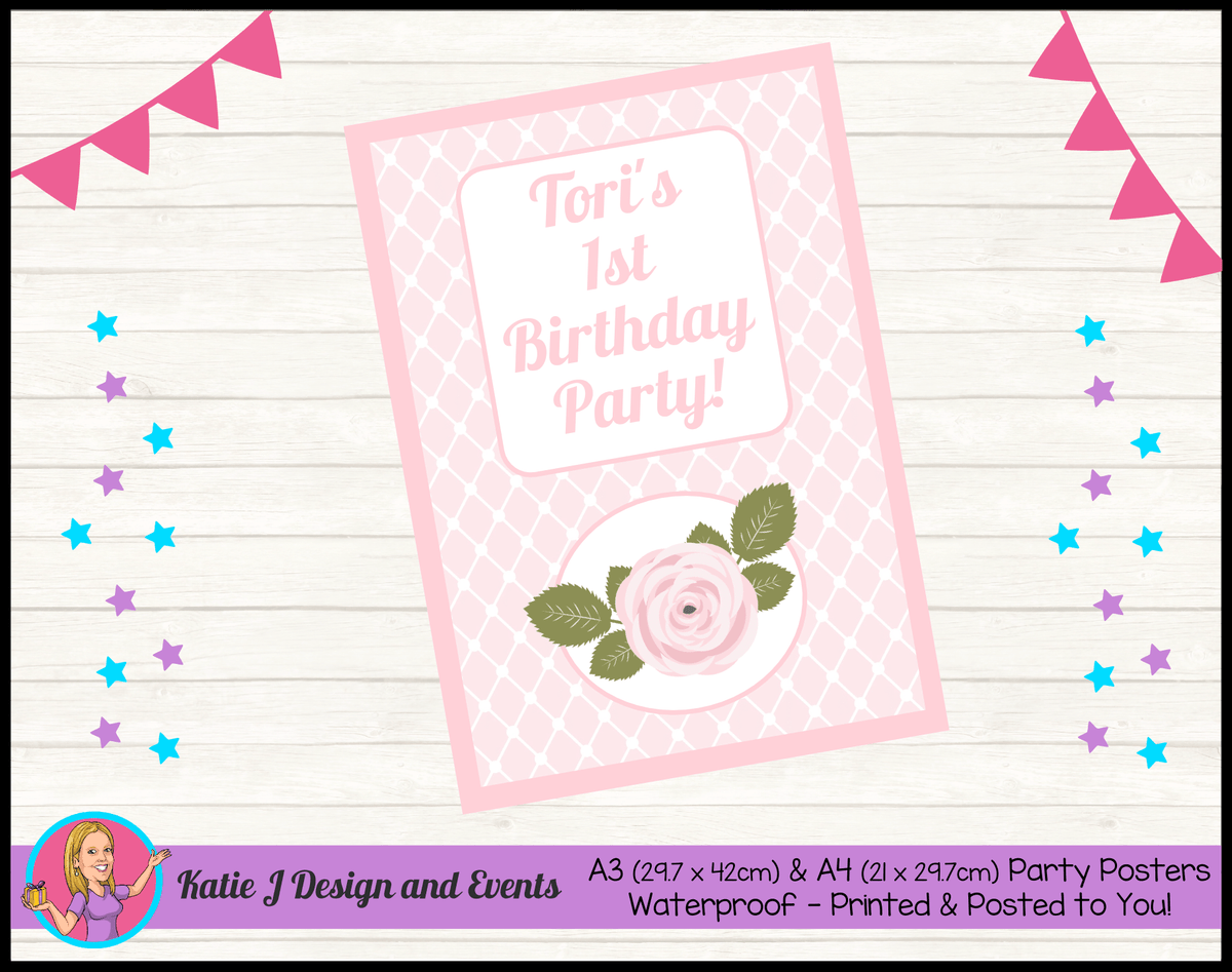 Personalised Pink Floral Birthday Party Poster