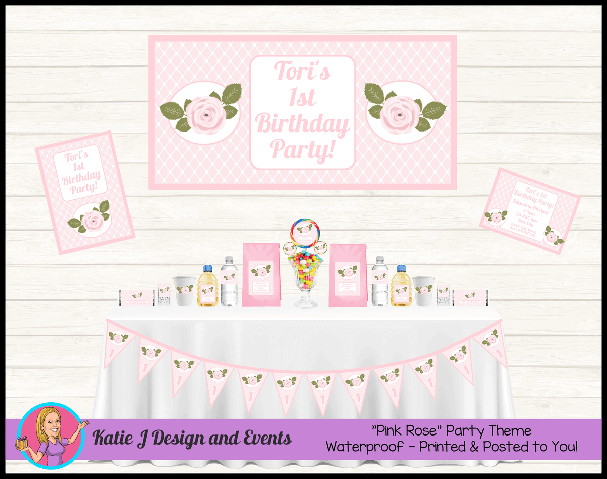 Personalised Pink Floral Birthday Party Packs Decorations Supplies