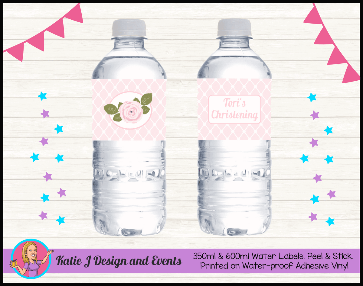 Personalised Pink Floral Christening Water Labels