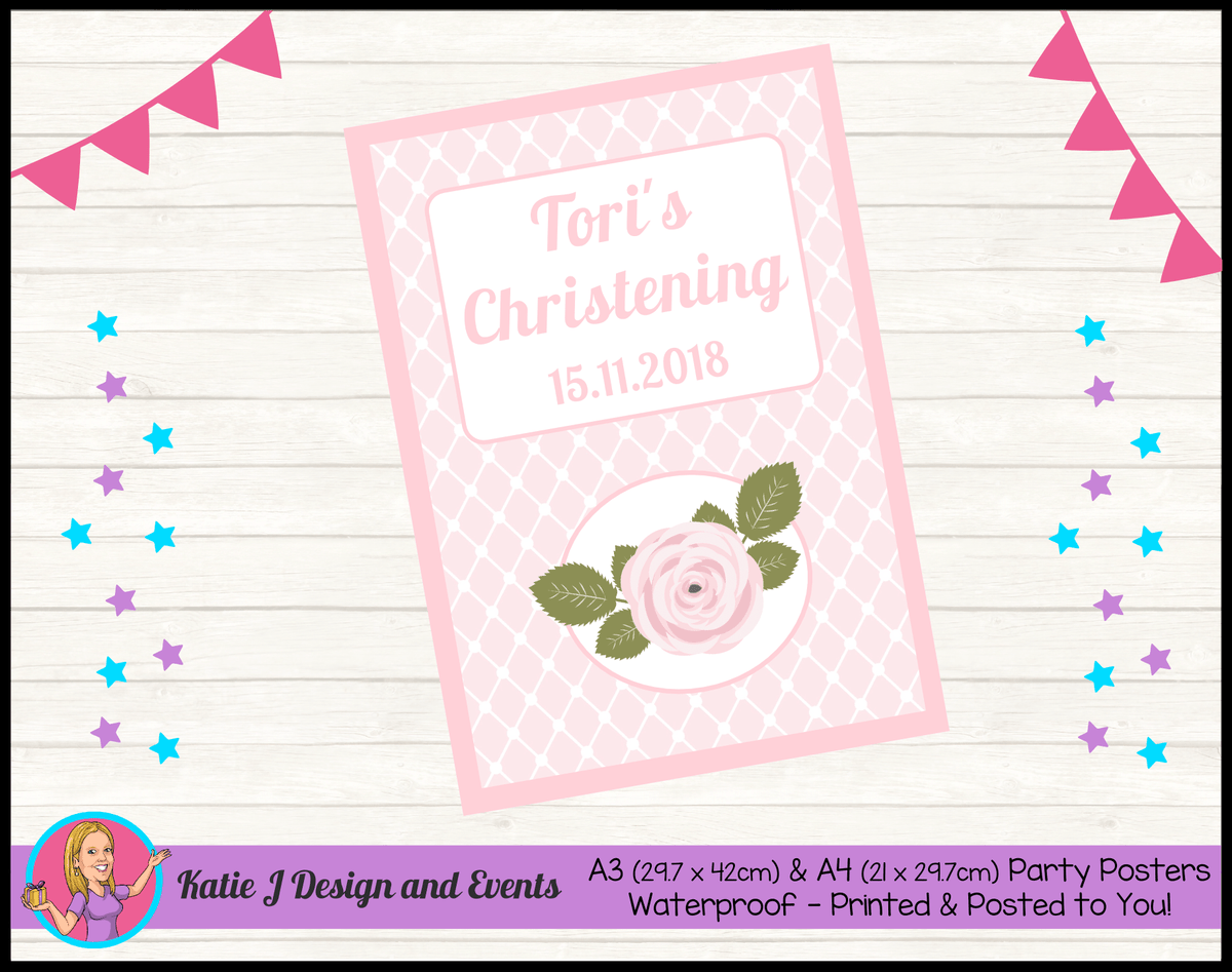 Personalised Pink Floral Christening Poster