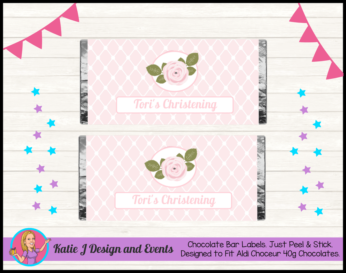 Personalised Pink Floral Christening Chocolate Labels Wrappers