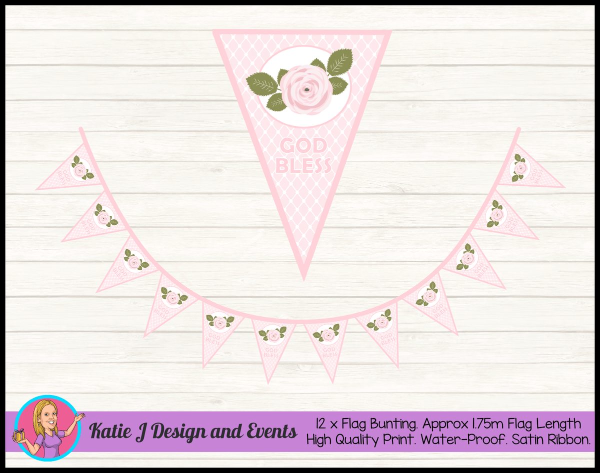 Personalised Pink Floral Christening Flag Bunting