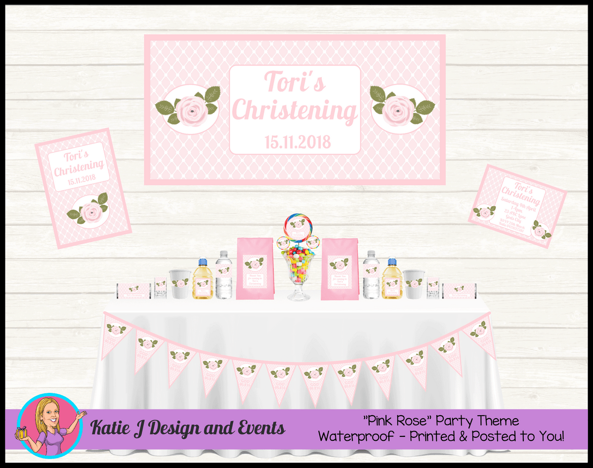 Personalised Pink Floral Christening Packs Decorations Supplies