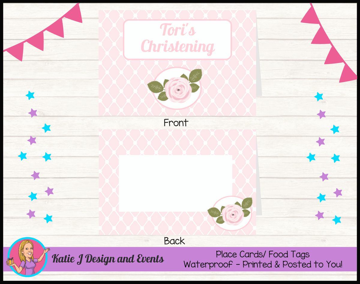 Personalised Pink Floral Christening Place Cards