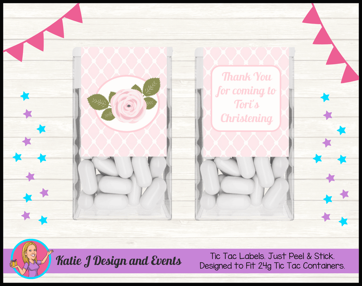 Personalised Pink Floral Christening Tic Tac Mint Labels