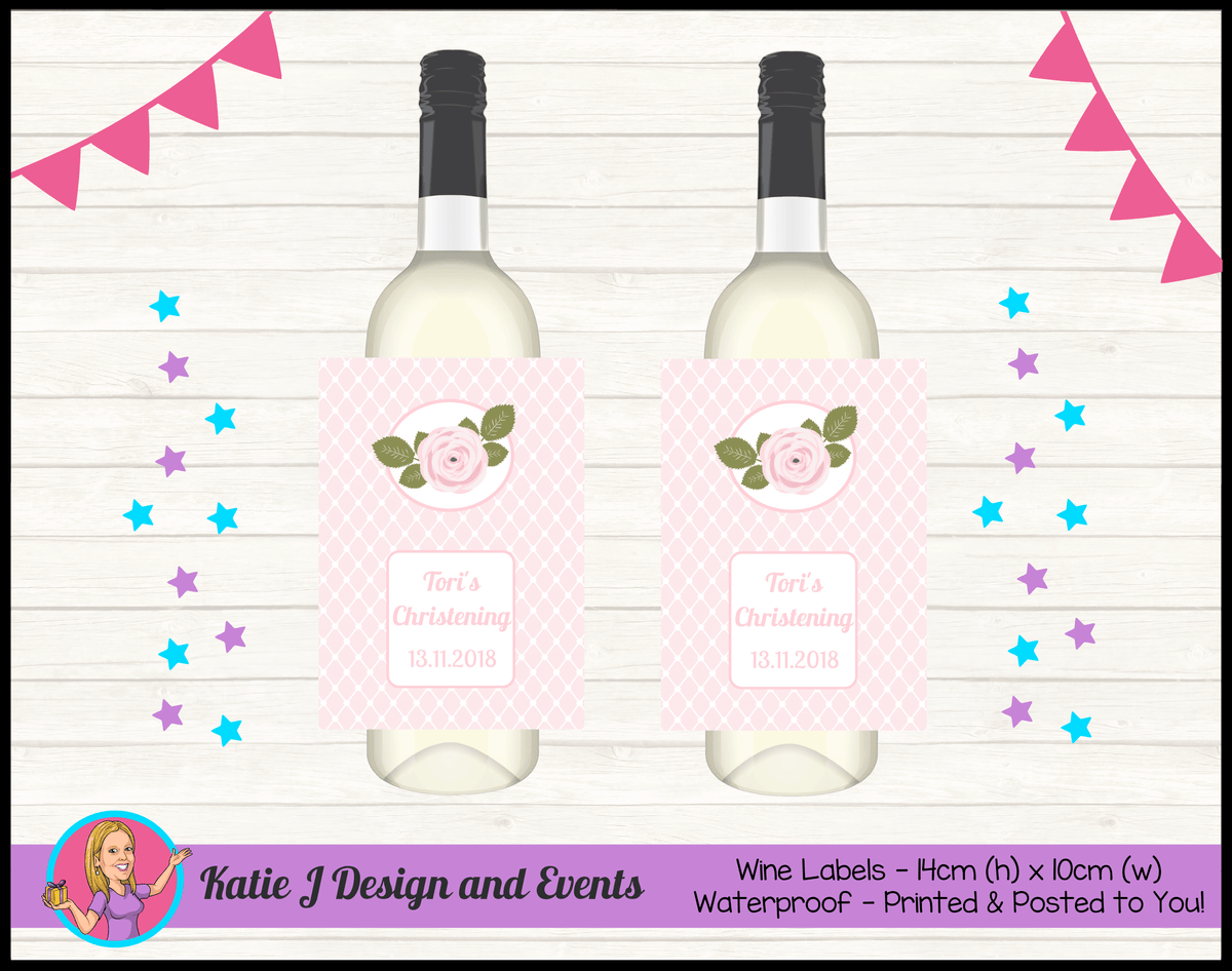 Personalised Pink Floral Christening Wine Labels