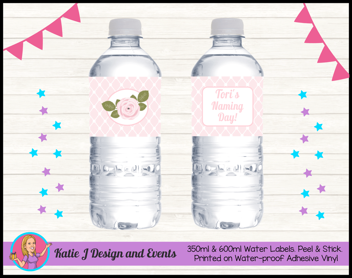 Personalised Pink Rose Floral Naming Day Water Labels