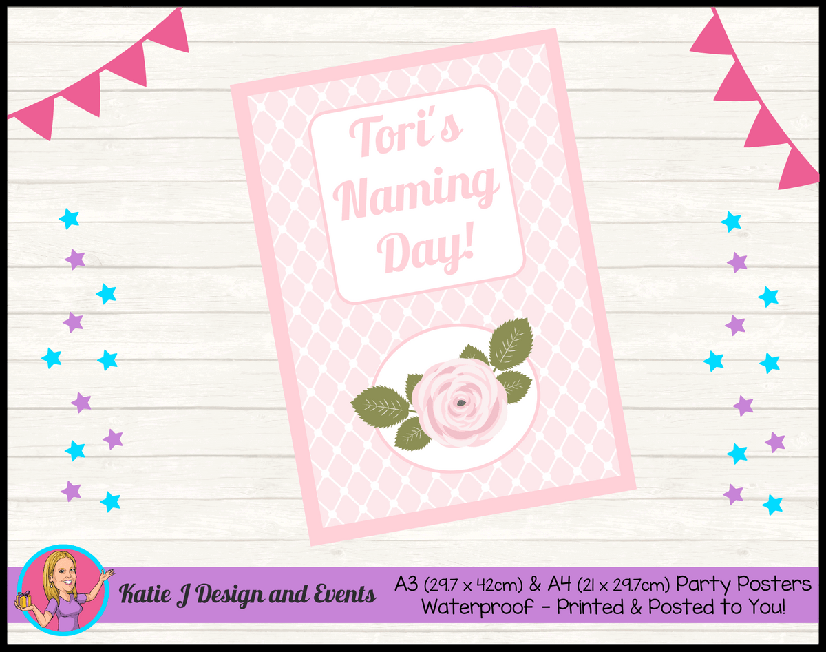 Personalised Pink Rose Floral Naming Day Poster