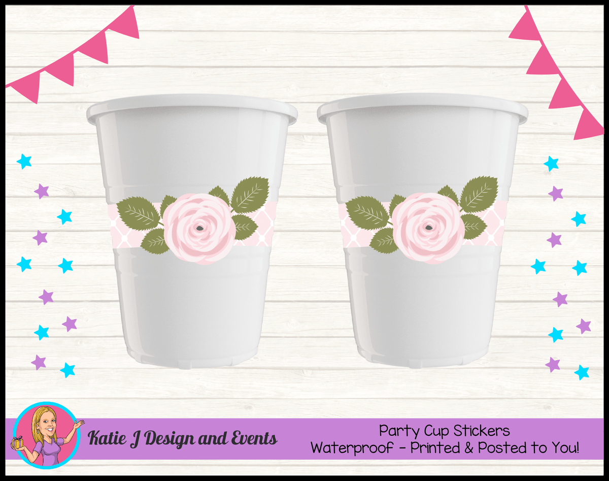 Personalised Pink Rose Floral Naming Day Cup Stickers Cups