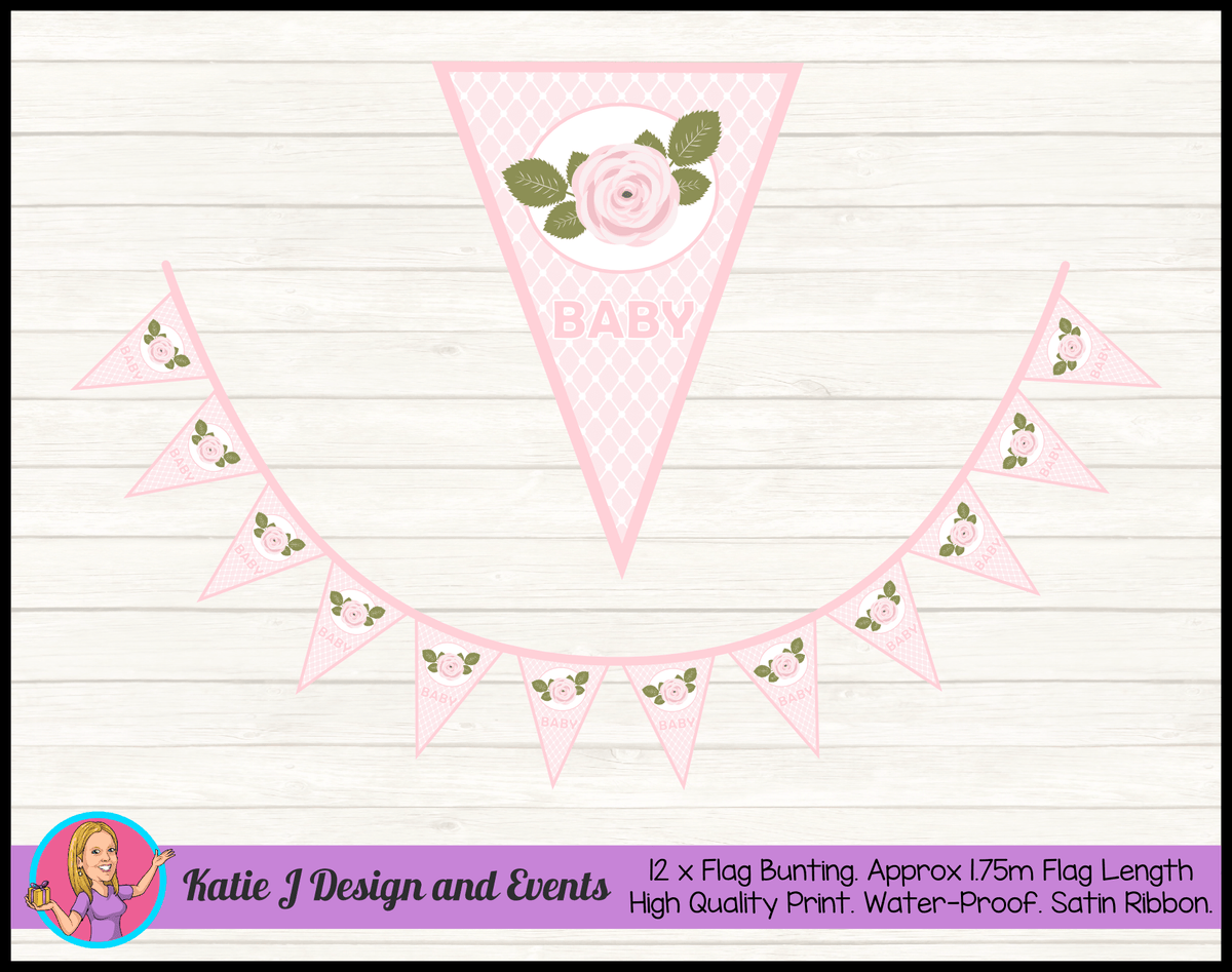 Personalised Pink Rose Floral Naming Day Flag Bunting