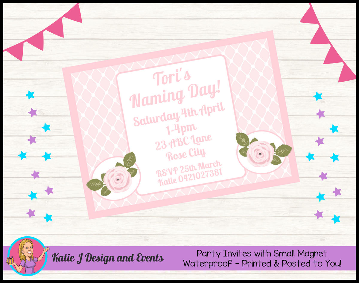 Personalised Pink Rose Floral Naming Day Invites Invitations