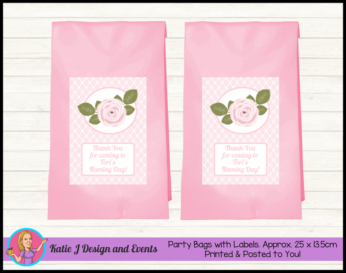 Personalised Pink Rose Floral Naming Day Party Loot Bags