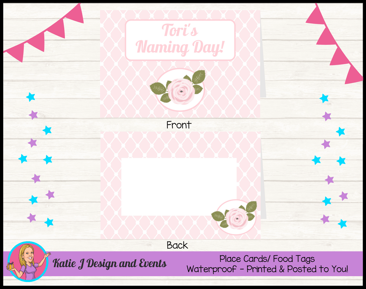 Personalised Pink Rose Floral Naming Day Place Cards