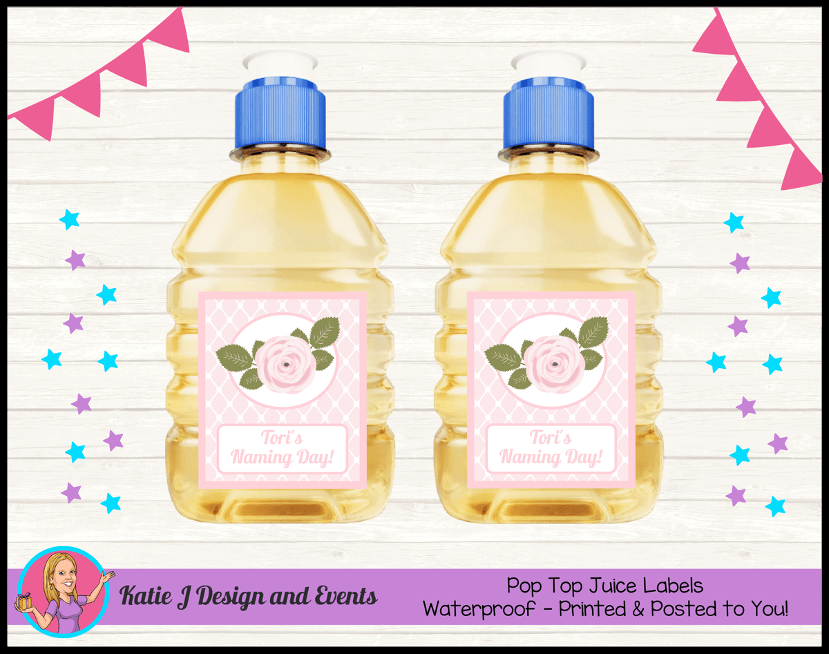 Personalised Pink Rose Floral Naming Day Pop Top Juice Labels