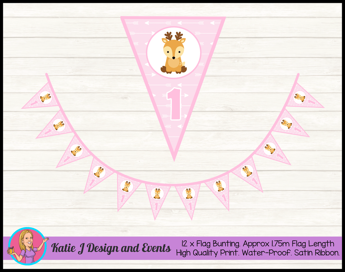 Personalised Pink Deer Birthday Party Flag Bunting