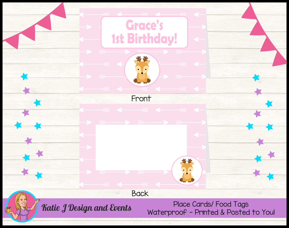 Personalised Pink Deer Birthday Party Place Cards
