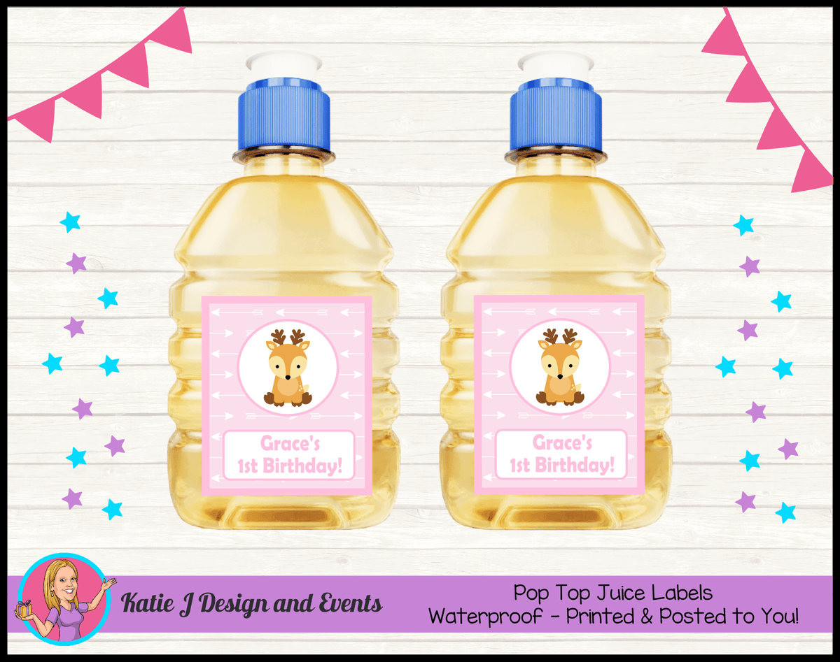 Personalised Pink Deer Birthday Party Pop Top Juice Labels