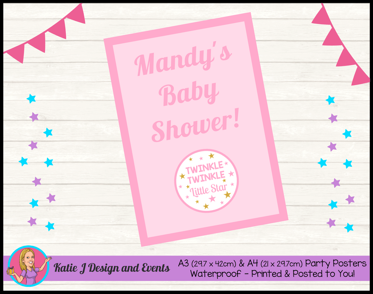 Personalised Girls Twinkle Twinkle Baby Shower Poster
