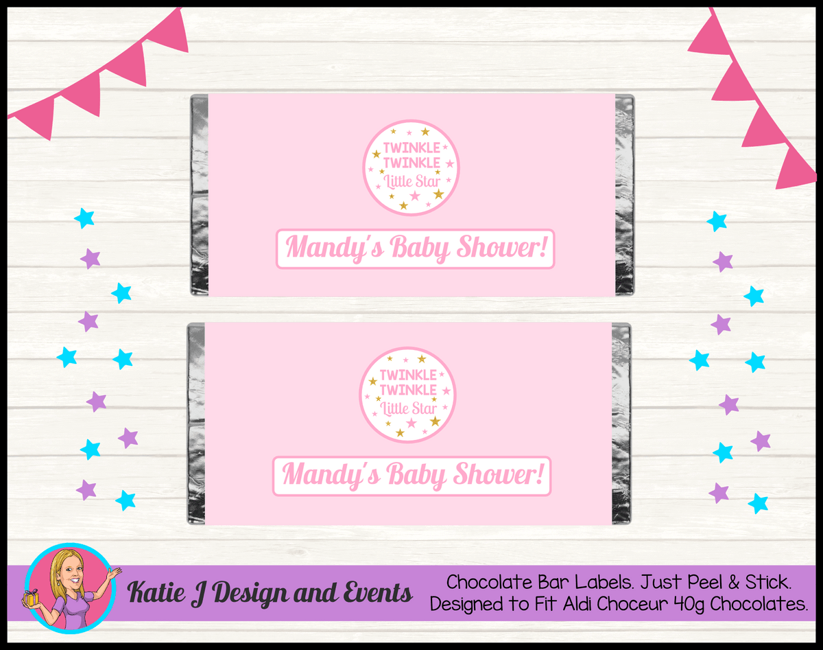 Personalised Girls Twinkle Twinkle Baby Shower Chocolate Labels Wrappers