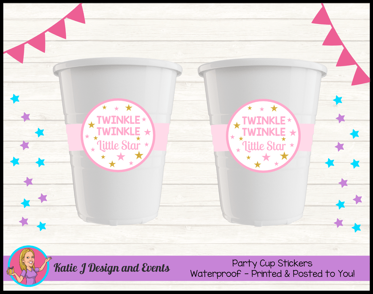 Personalised Girls Twinkle Twinkle Baby Shower Cups Cup Stickers