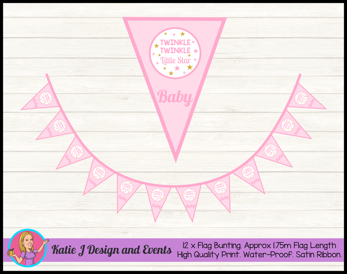 Personalised Girls Twinkle Twinkle Baby Shower Flag Bunting
