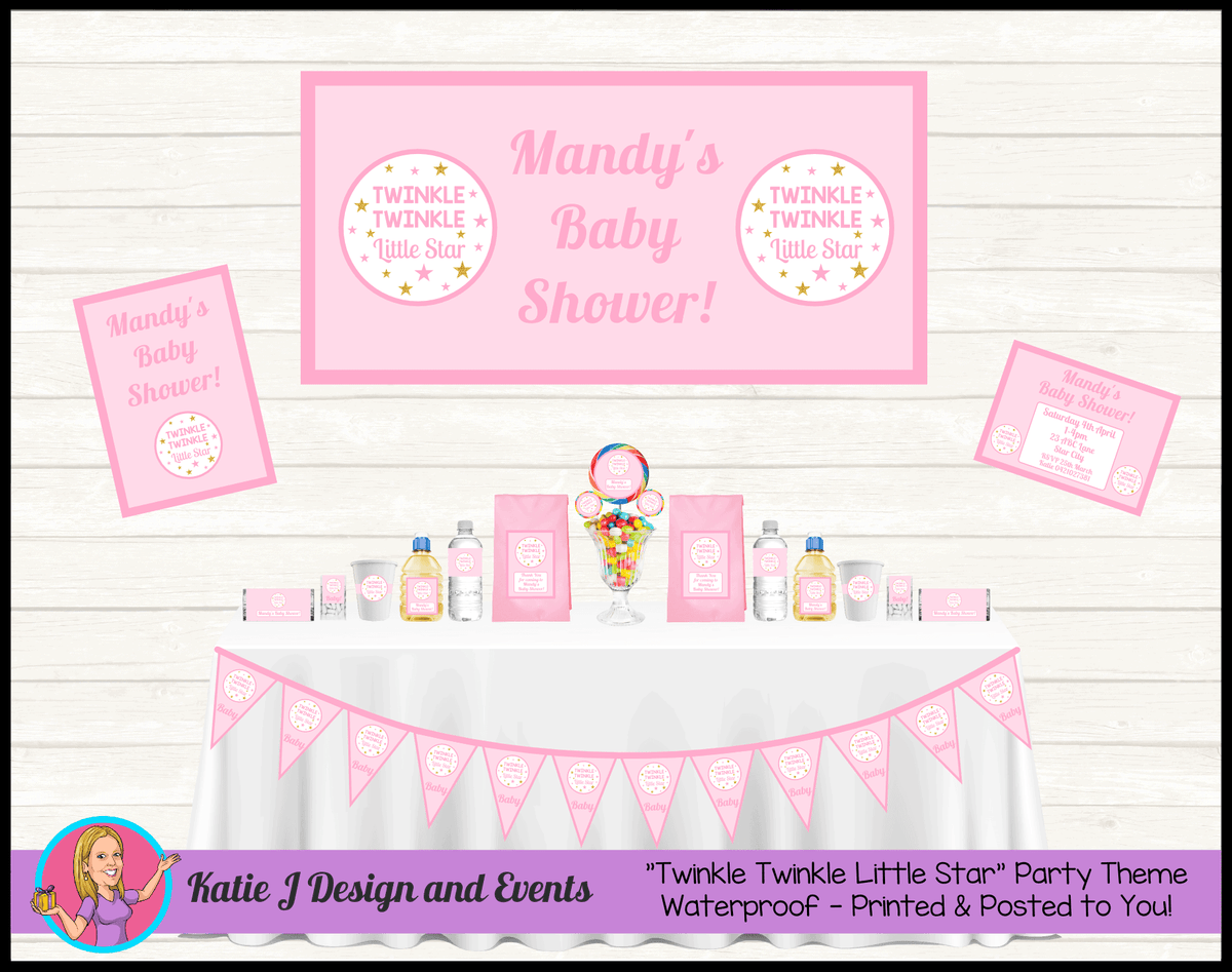 Personalised Girls Twinkle Twinkle Baby Shower Packs Decorations Supplies