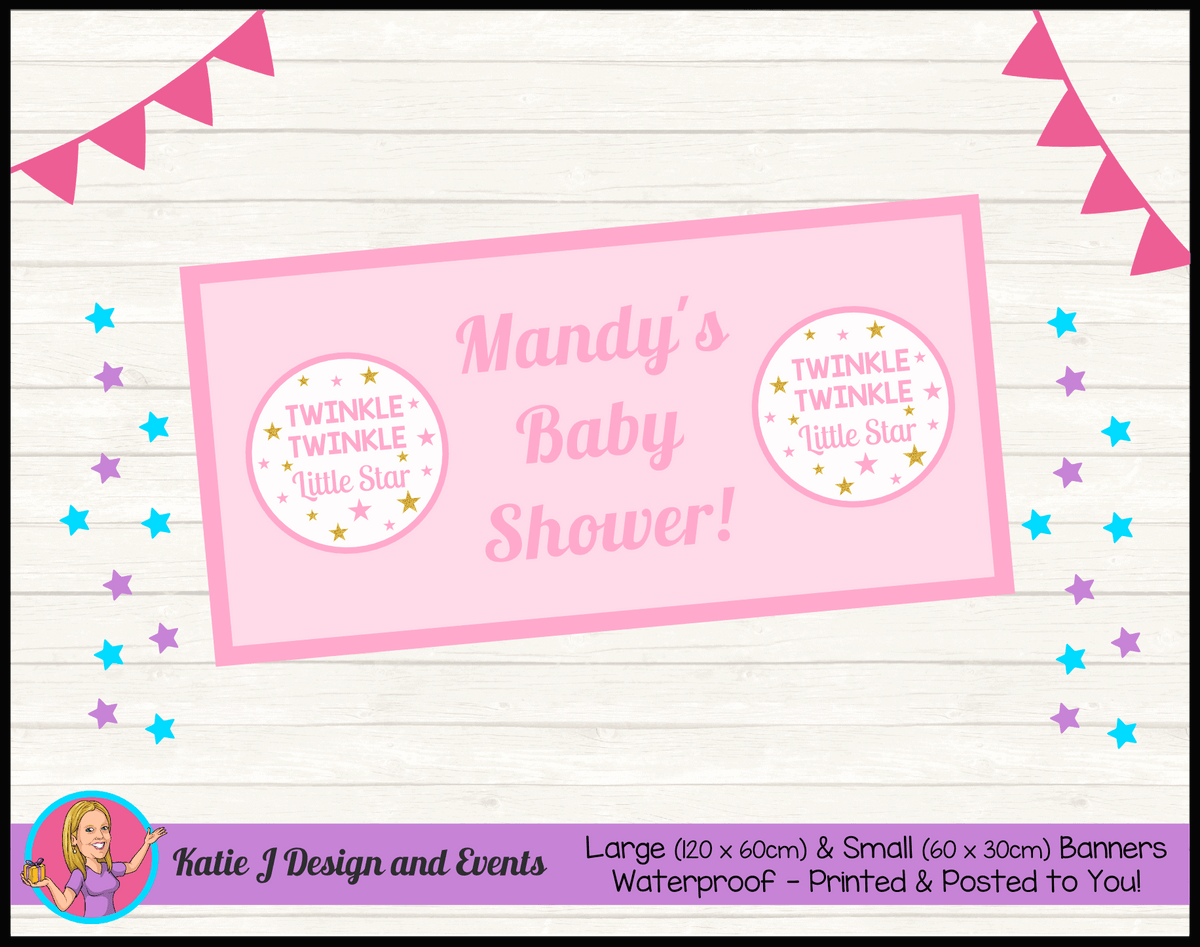 Personalised Girls Twinkle Twinkle Baby Shower Banner